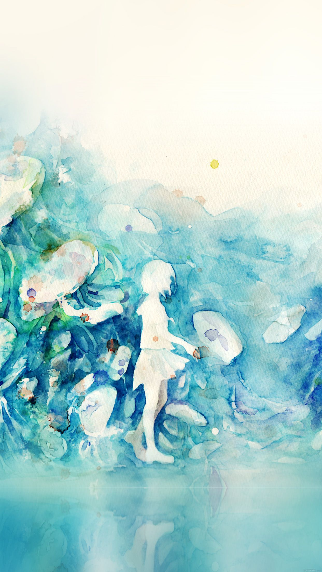 Cool Watercolor Blue Girl Nature Art Illust Iphone6 Plus Wallpaper