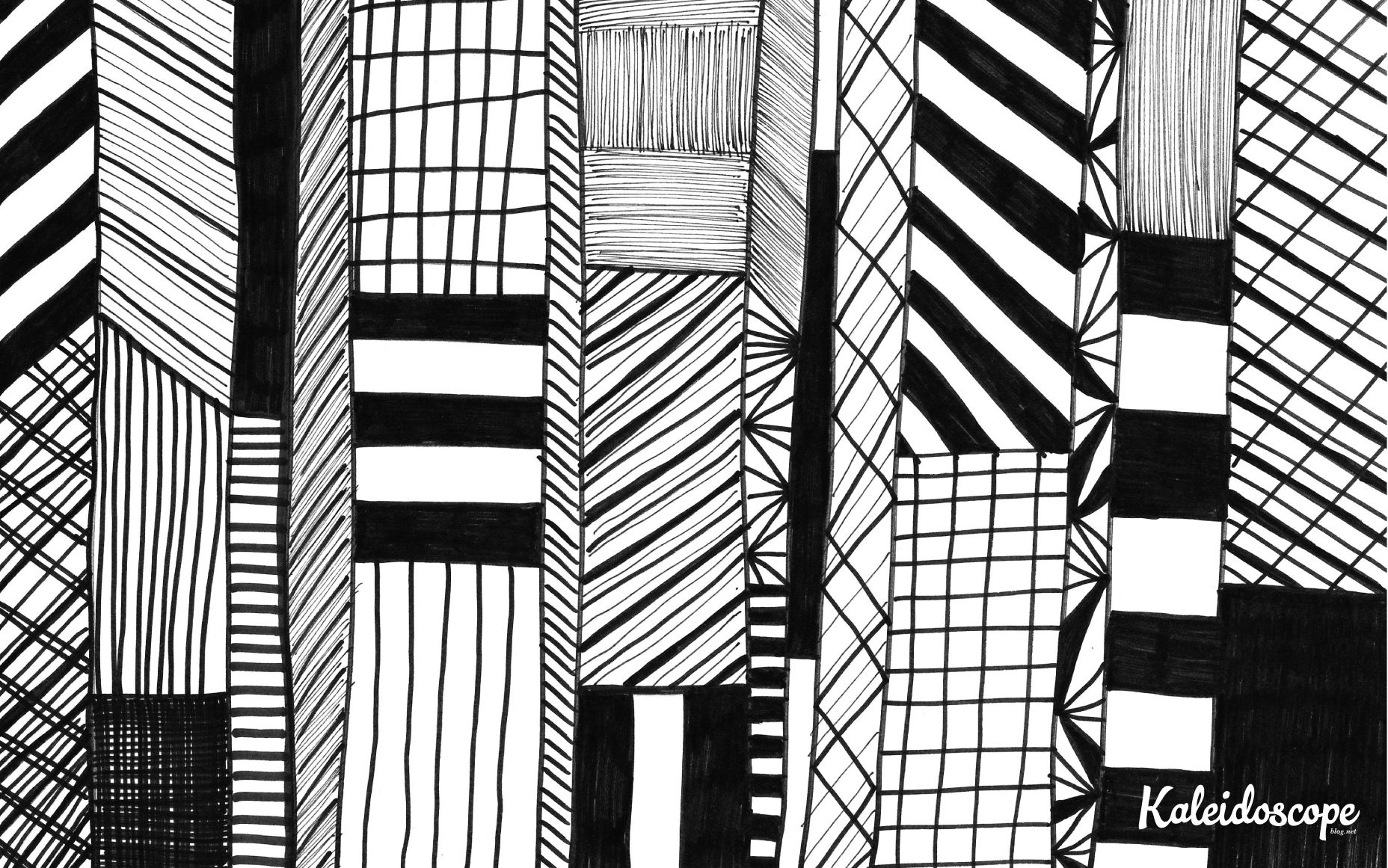 Black and white hand drawn geometric pattern computer