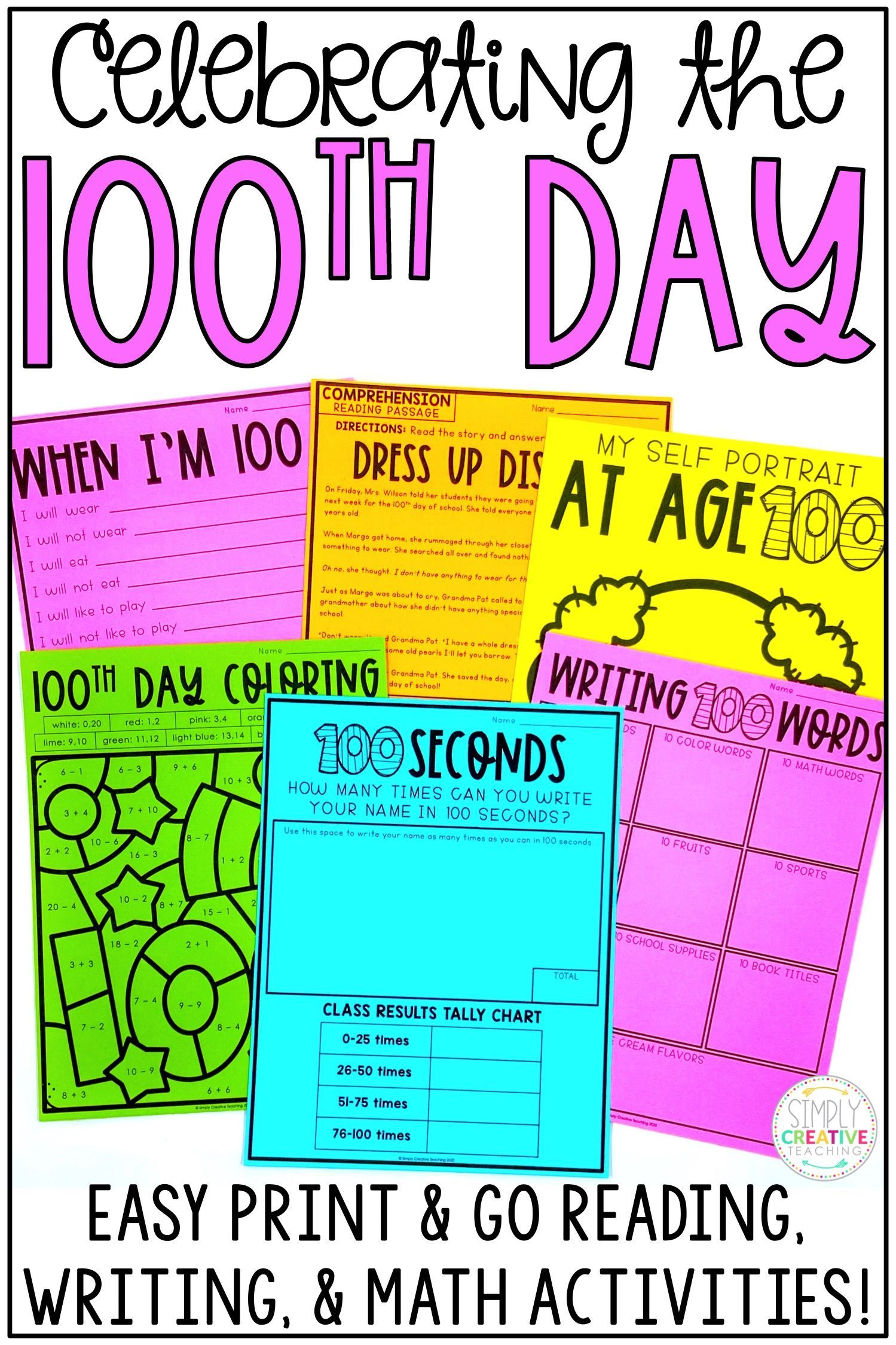 100th Day Of School Reading Amp Math Activities In