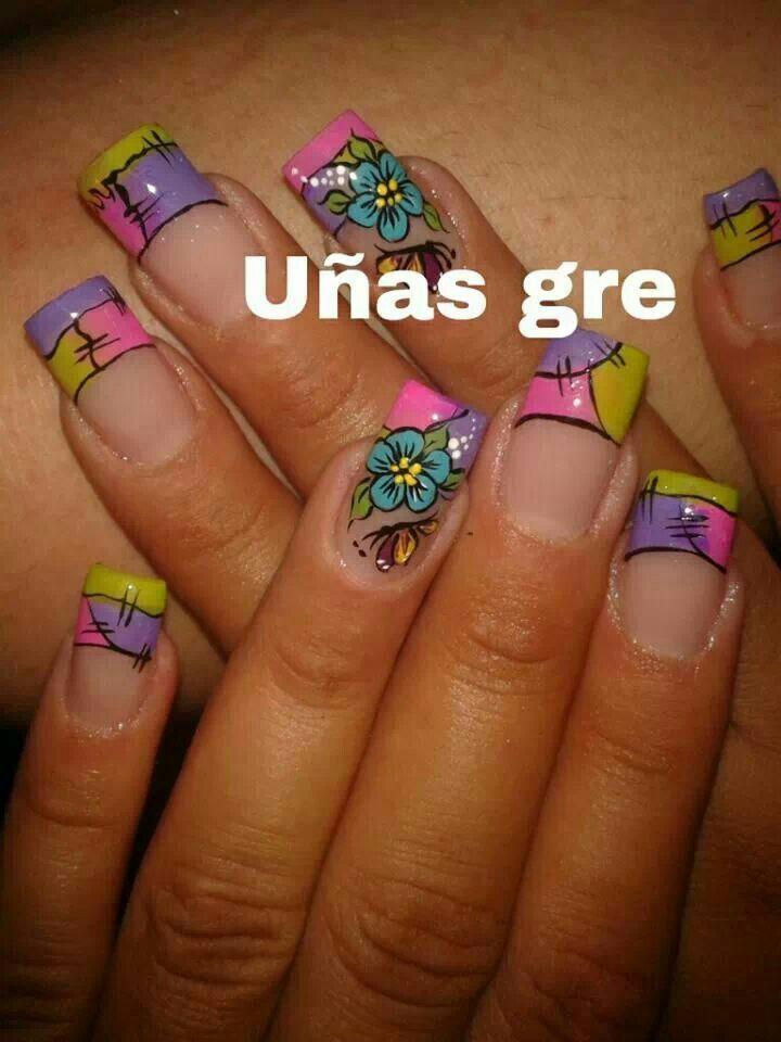 Punta colores u as nail designs summer nails y french - Modelo de unas pintadas ...