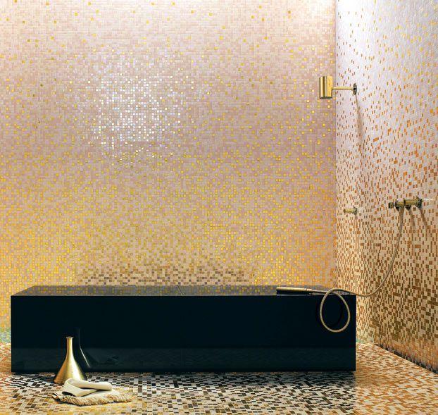 Bisazza gold pink tesserae glass mosaic tiles - Bisazza fliesen ...
