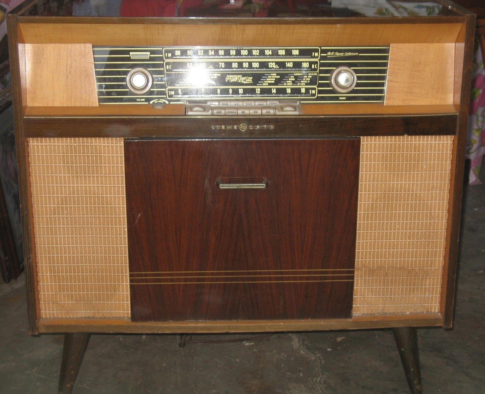 Loewe Opta Fonovox Radio Turntable Furniture Cabinet Old