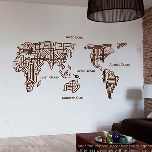 World Map Wall Stickers Large New Design Maze Art Pattern Creative