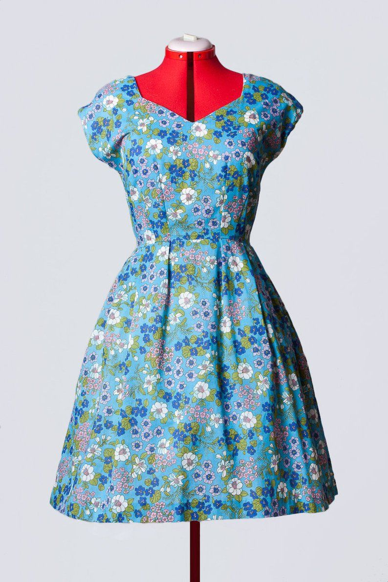 50s Style Floral Sundress With Pockets Etsy Blue Floral Sundress Floral Blue Dress Floral Print Dress Summer [ 1191 x 794 Pixel ]