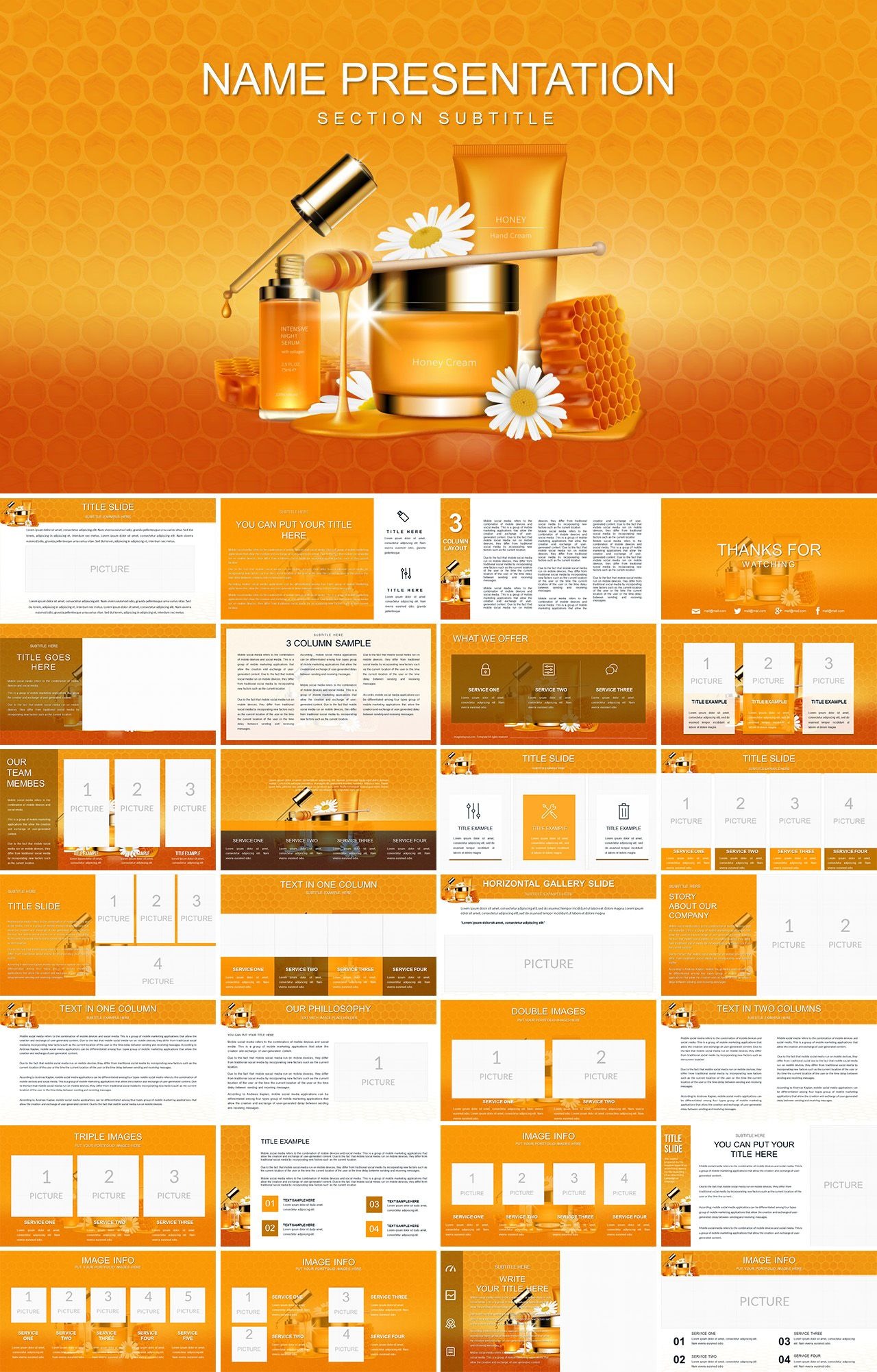 Honey Beauty Products PowerPoint template   PPT