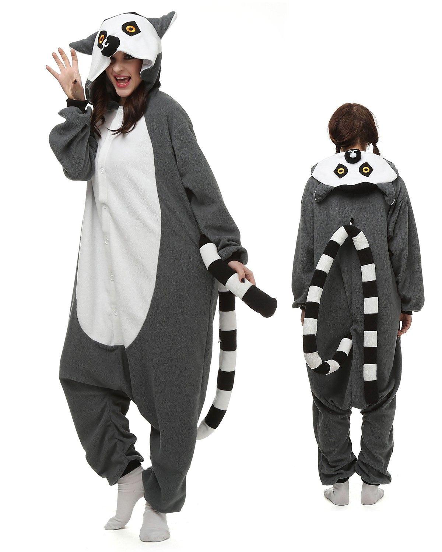 0d17e621eb Lemur Kigurumi Onesie Pajamas Polar Fleece Animal Unisex Costumes in ...