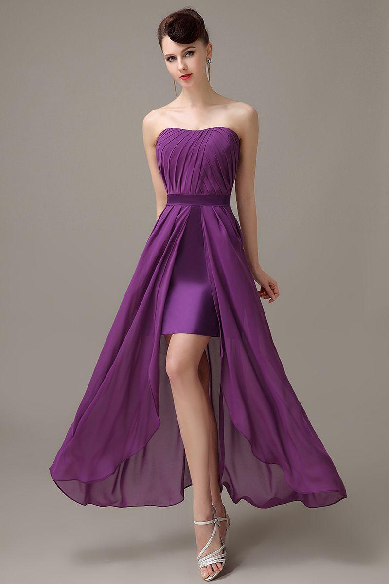 Click to buy dark purple strapless chiffon zipper up slit click to buy dark purple strapless chiffon zipper up slit simple bridesmaid ombrellifo Gallery