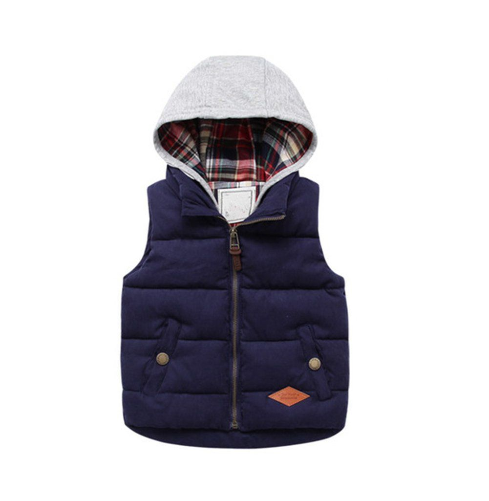 09e7151dcec43 Little Boys Winter Warm Hoodies Vest Coat Kids Puffer Waistcoat Jacket  Zipper Up Navy 13.