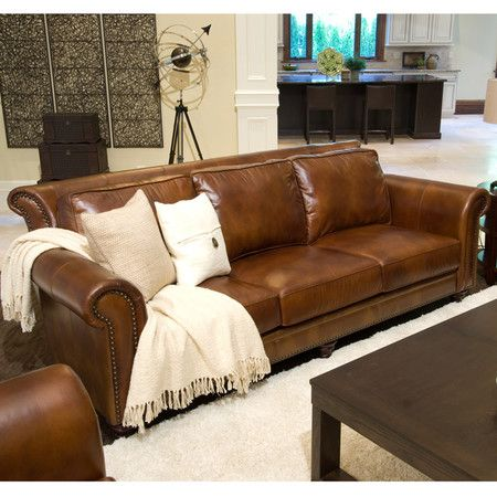 Top Grain Leather Sofa With A Rolled Back And Arms Includes Dark