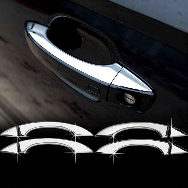 Car styling 4 pcs abs chrome door handle trim stainless steel exterior door handle decorative strips for audi a6 c7 Exterior
