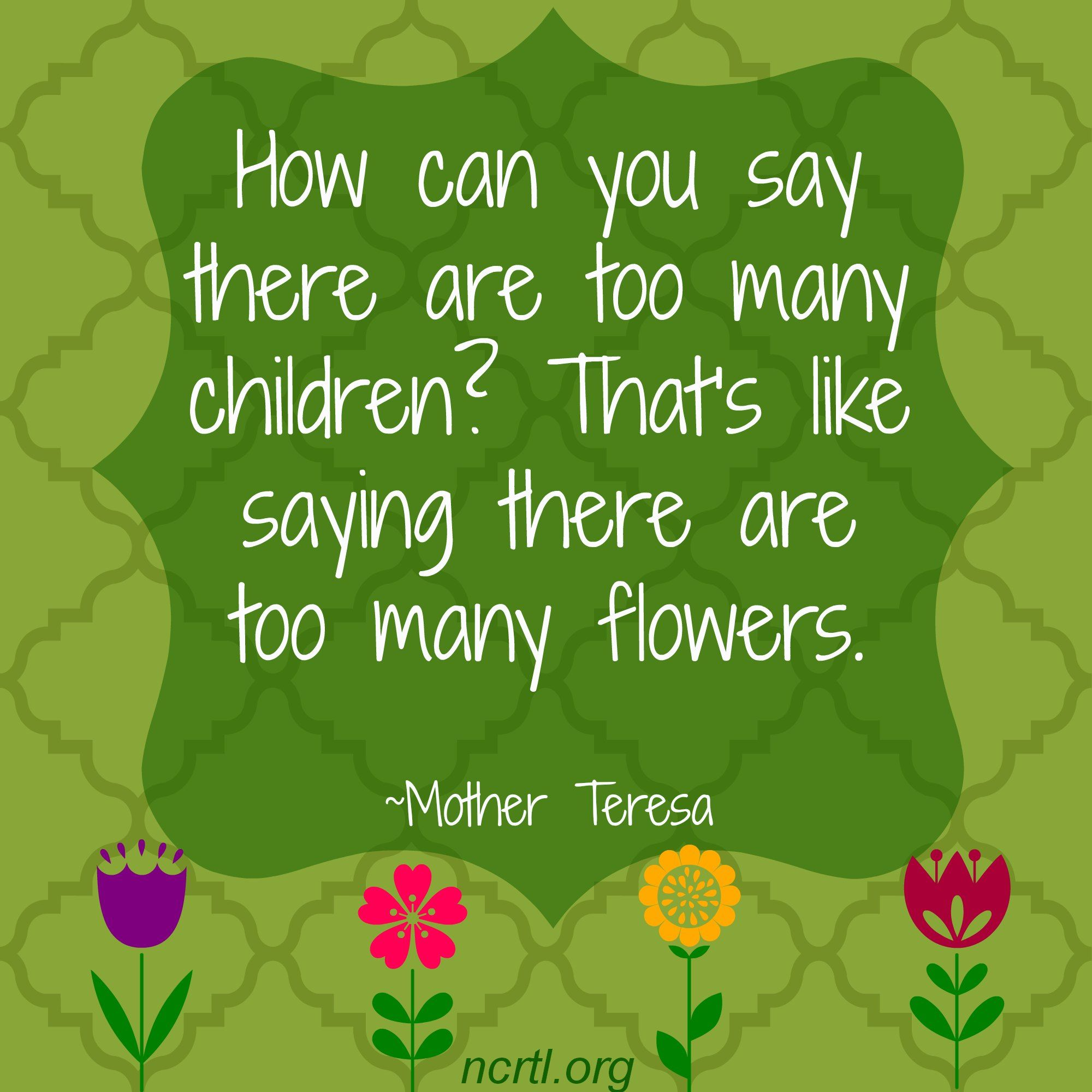 How Can You Say There Are Too Many Children That S Like Saying There Are Too Many Flowers Mother Teresa Mother Teresa Quotes Pro Life Faith Quotes
