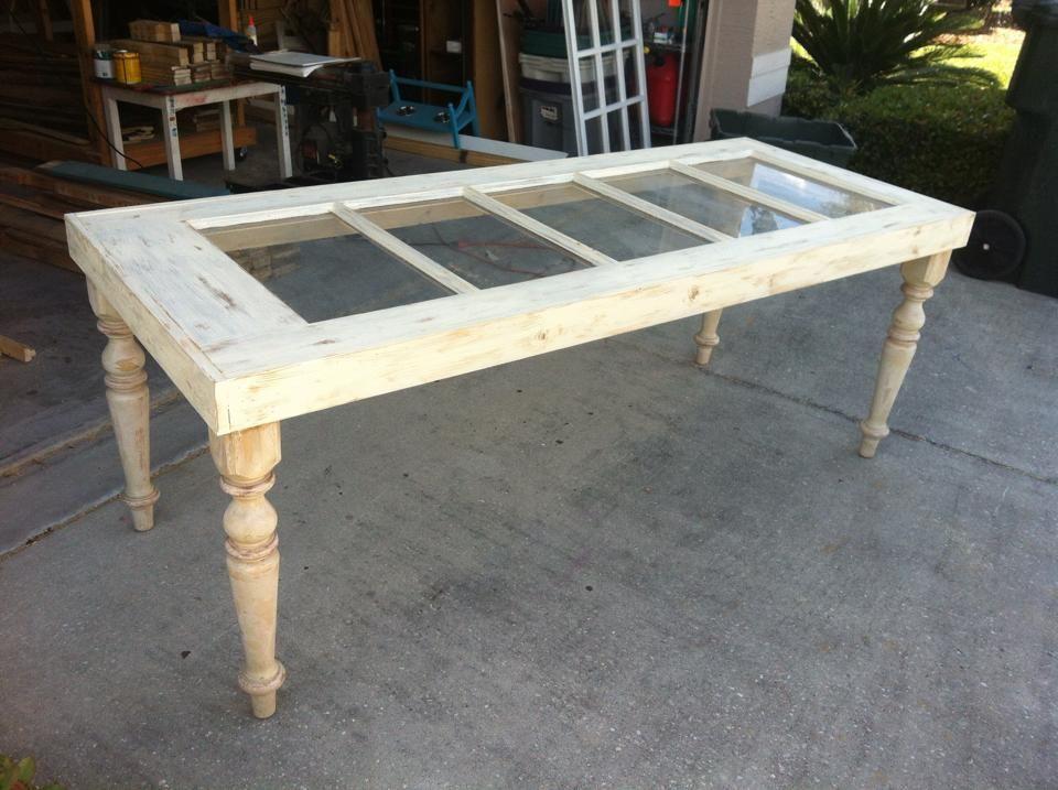 Repurposed French Door Table