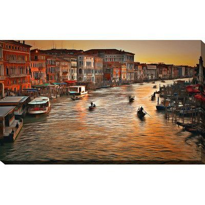 """PicturePerfectInternational """"Venice Sunset"""" by Yuri Malkov Painting Print on Wrapped Canvas Size: 36"""" H x 60"""" W x 1.5"""" D"""