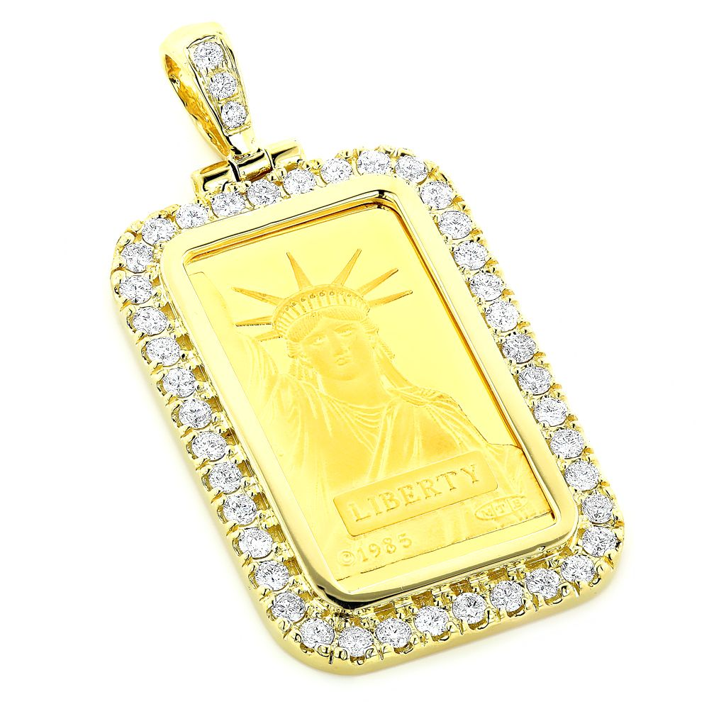 Statue Of Liberty Diamond Pendant 2 2ct Credit Suisse Gold Bar Charm Diamond Pendant Gold Bar Womens Jewelry Necklace