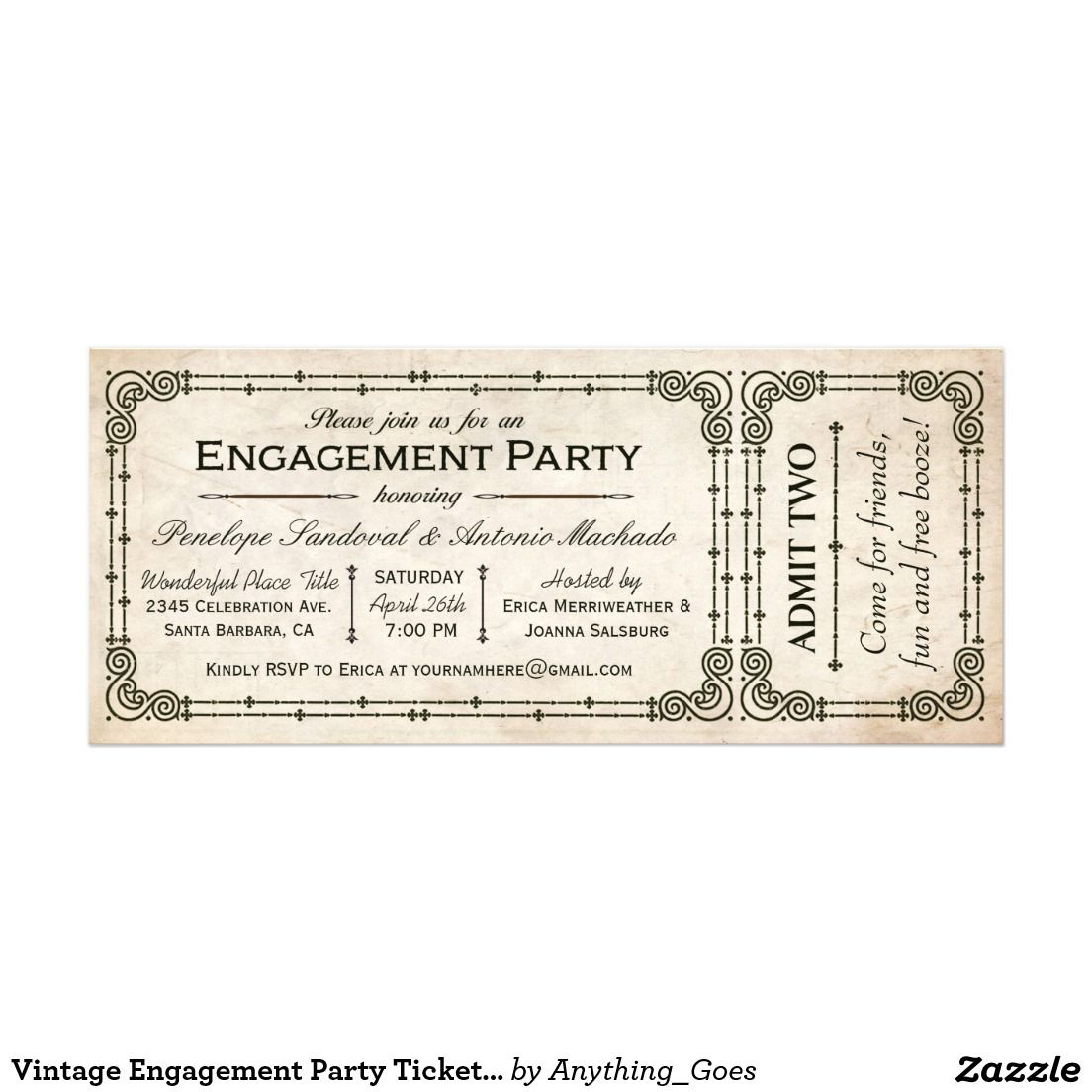 Vintage Engagement Party Ticket Invitations I   Wedding :Engagement ...