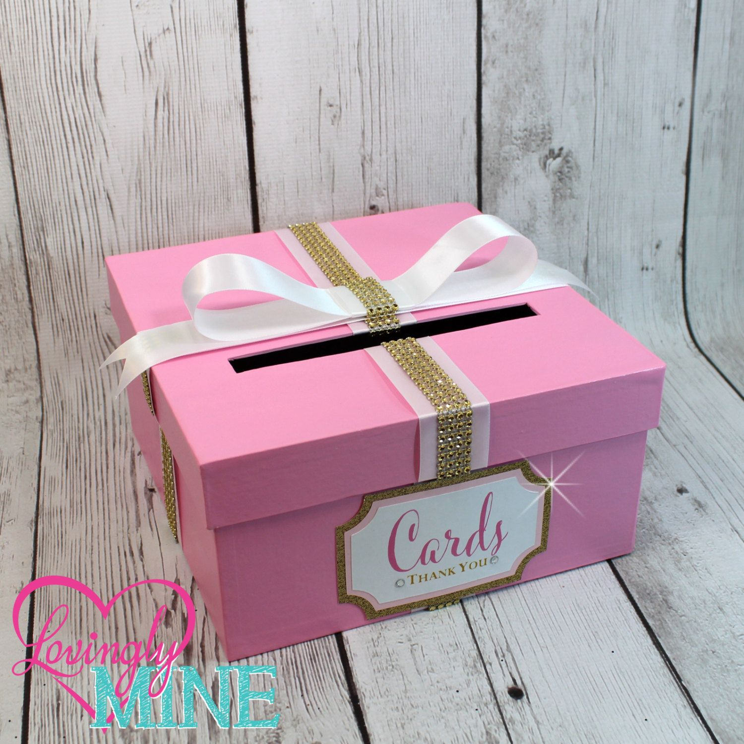 Card Holder Box With Sign In Baby Pink Gold White
