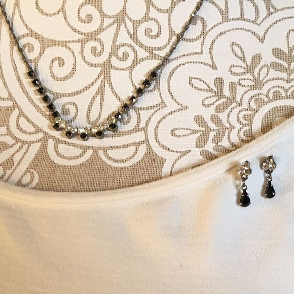 Necklace and Matching Earrings Matching set of necklace and earrings. Black and clear rhinestones. Jewelry Necklaces