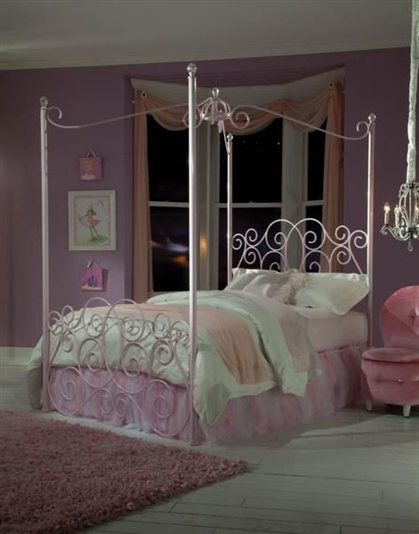 Princess Pink White Metal Full Canopy Bed