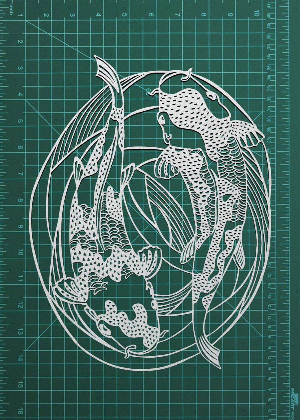 Koi Fish Handmade Papercut Art Home Decor   Japanese Style Swimming Koi// Carp Papercutting Original Wall Art For Home Decor, Unique Gift