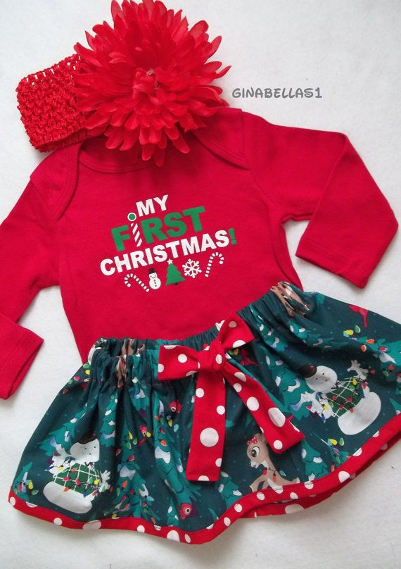 6f54e5f54 First Christmas onesie baby girl outfit dress Santa Baby Rudolph ...