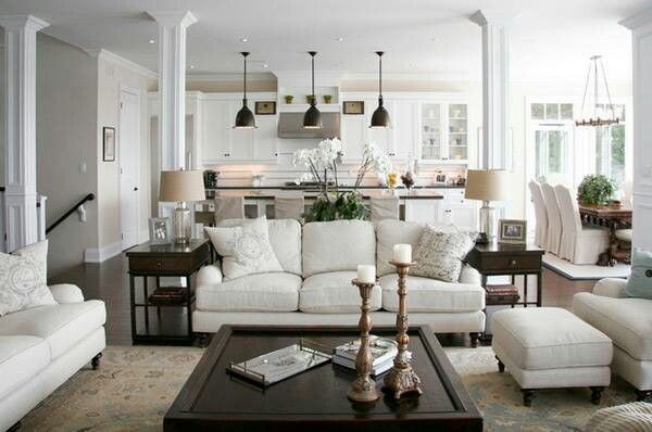 French Country Living Room I Like The Dark Wood Floors And Cream Colored Walls Traditional Design Living Room Open Concept Living Room Traditional Living Room