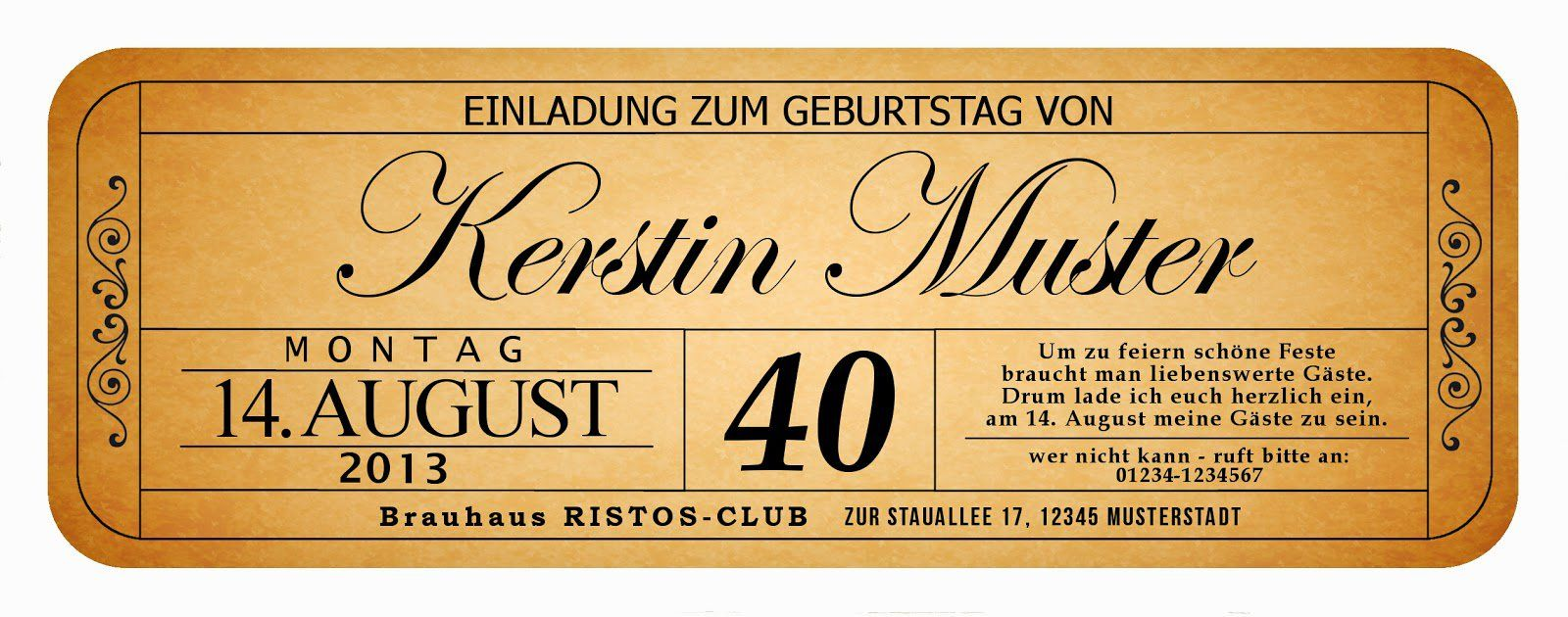 Einladung Geburtstag : 40 Geburtstag Einladung   Geburstag Einladungskarten    Geburstag Einladungskarten