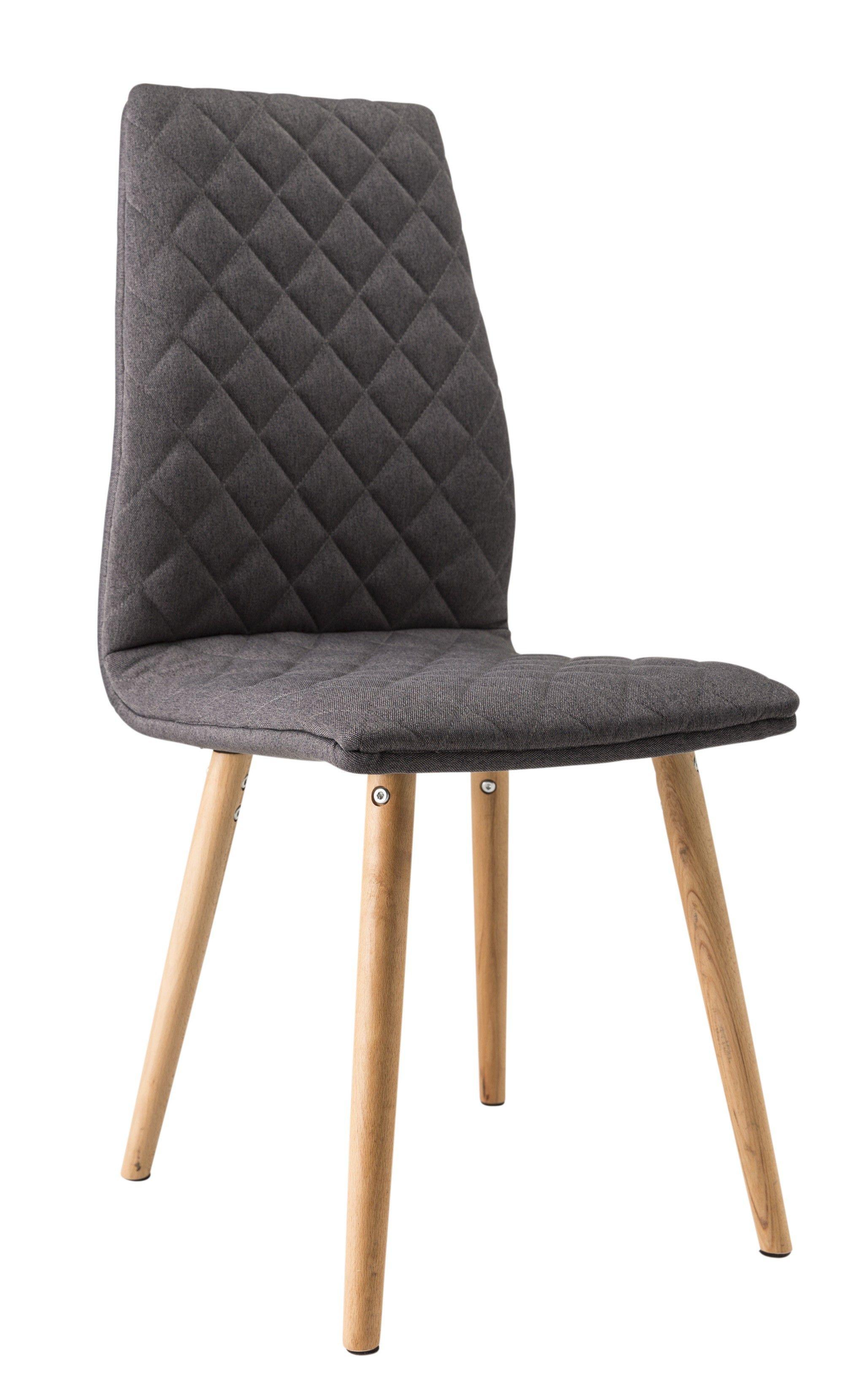 Chaise de salle  manger contemporaine bois & tissu coloris gris