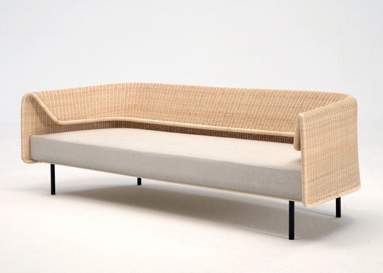minimalist modern landscape design with rattan sofa   Rattan backrest curves around Hiroomi Tahara's Wrap sofa ...