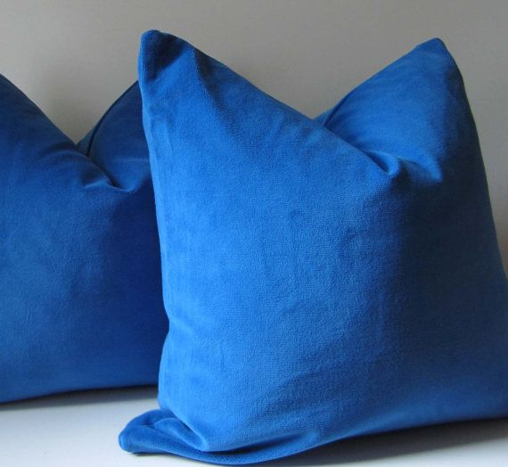 Dazzling Blue Velvet Pillow Decorative Pillow Cover 20