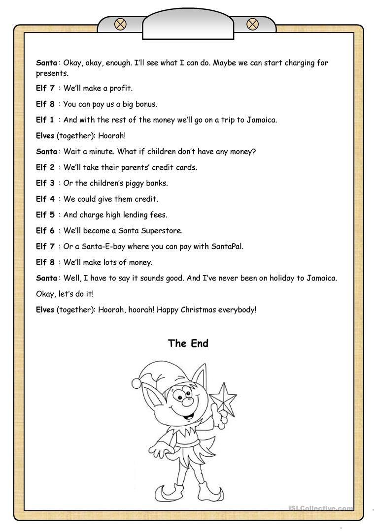 Short Plays 1 Elves On Strike Worksheet Free Esl Printable Worksheets Made By Teachers Play Scripts For Kids Short Play Christmas Skits [ 1079 x 763 Pixel ]