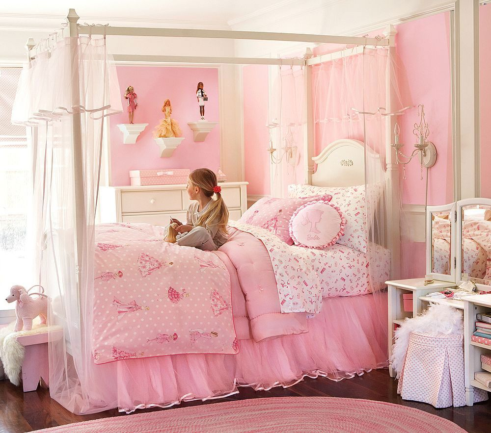 Details About Kids Bedroom Stylish White And Bright Pink Little Girls Room Decorating With Canopy Bed