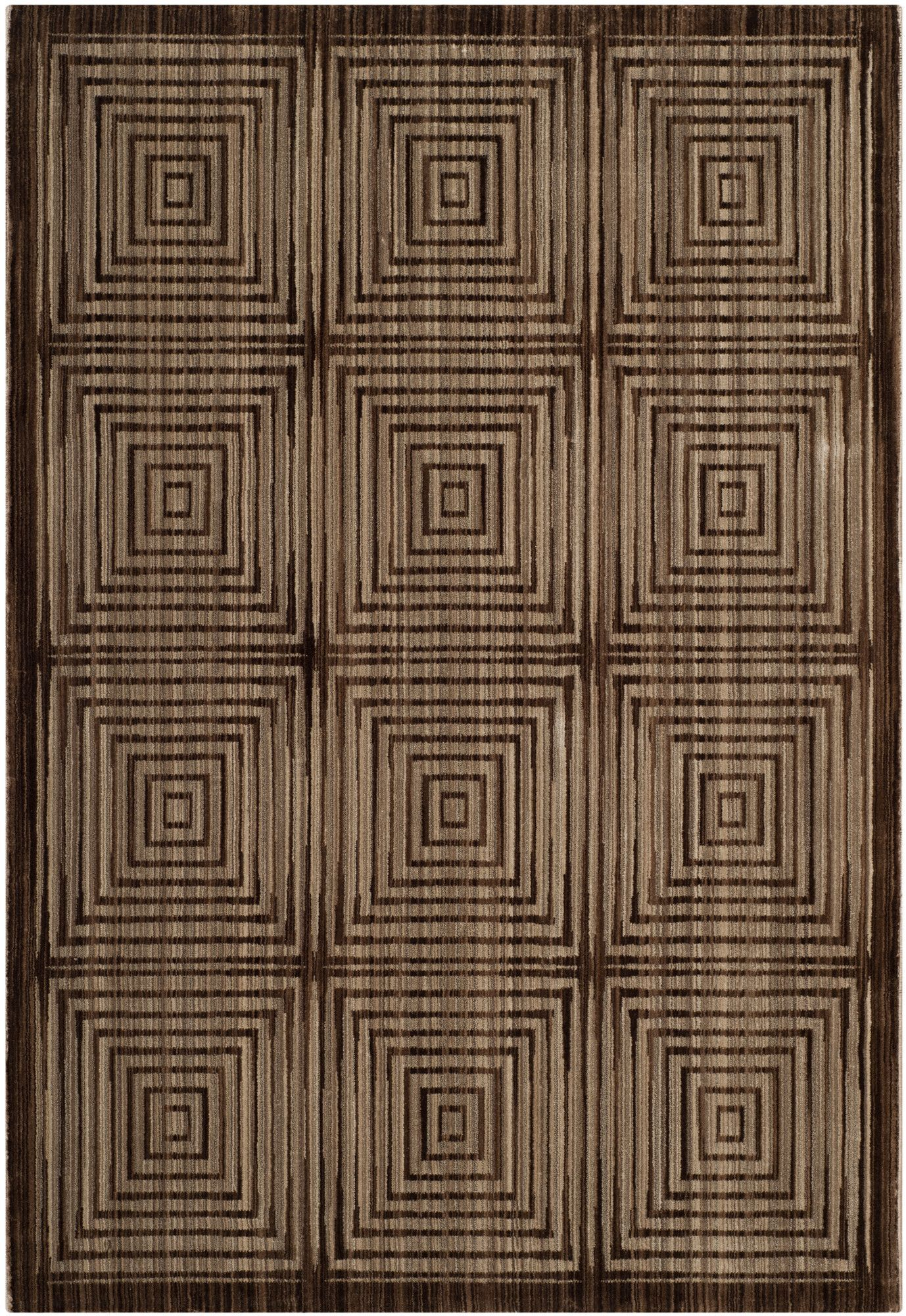 Infinity Brown Beige Geometric Area Rug