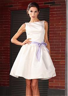Elegant Satin A-line Bateua Neckline Short Wedding Dress
