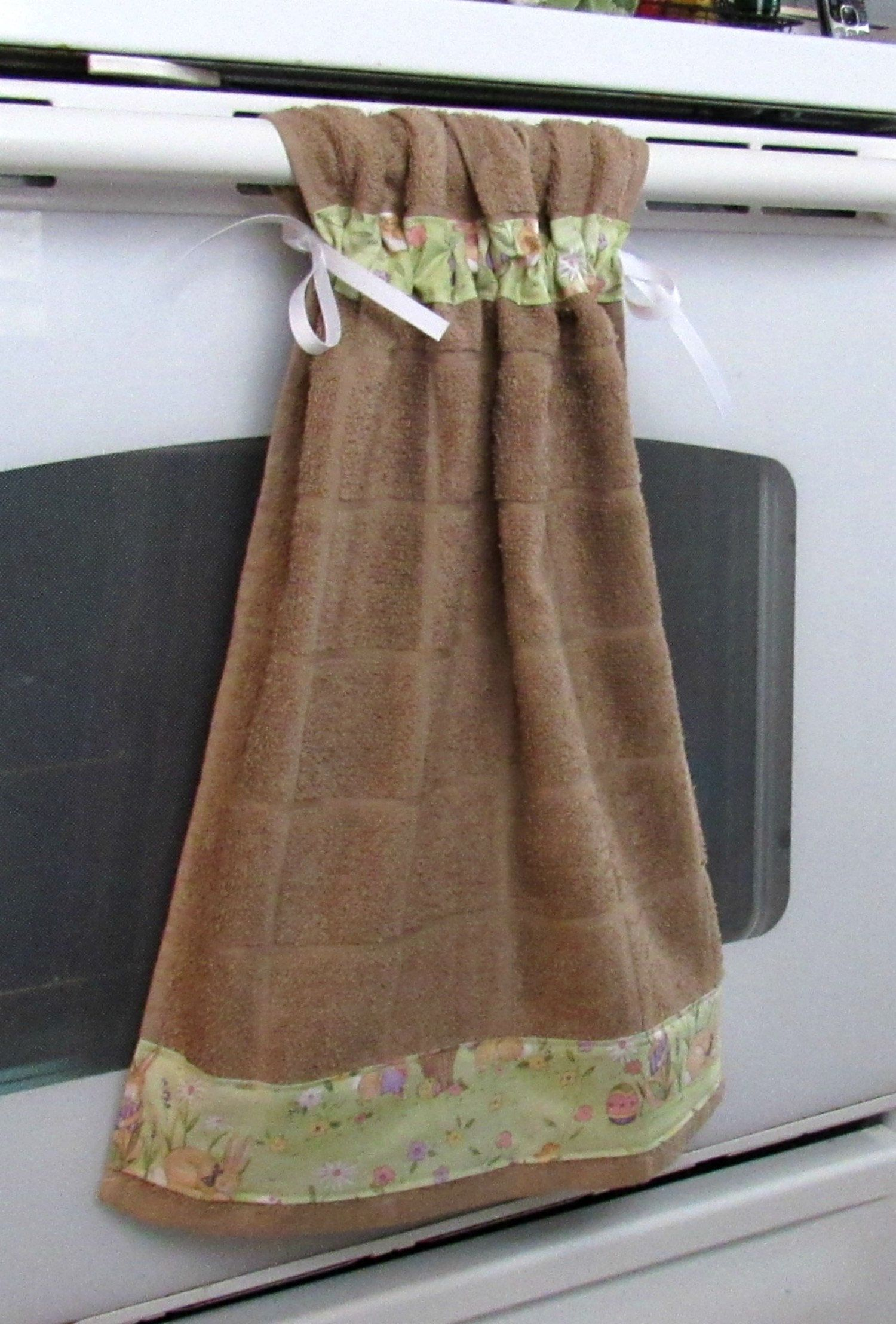Tie Top Towels Brown Cotton Kitchen Towel Accented With Bunnies In