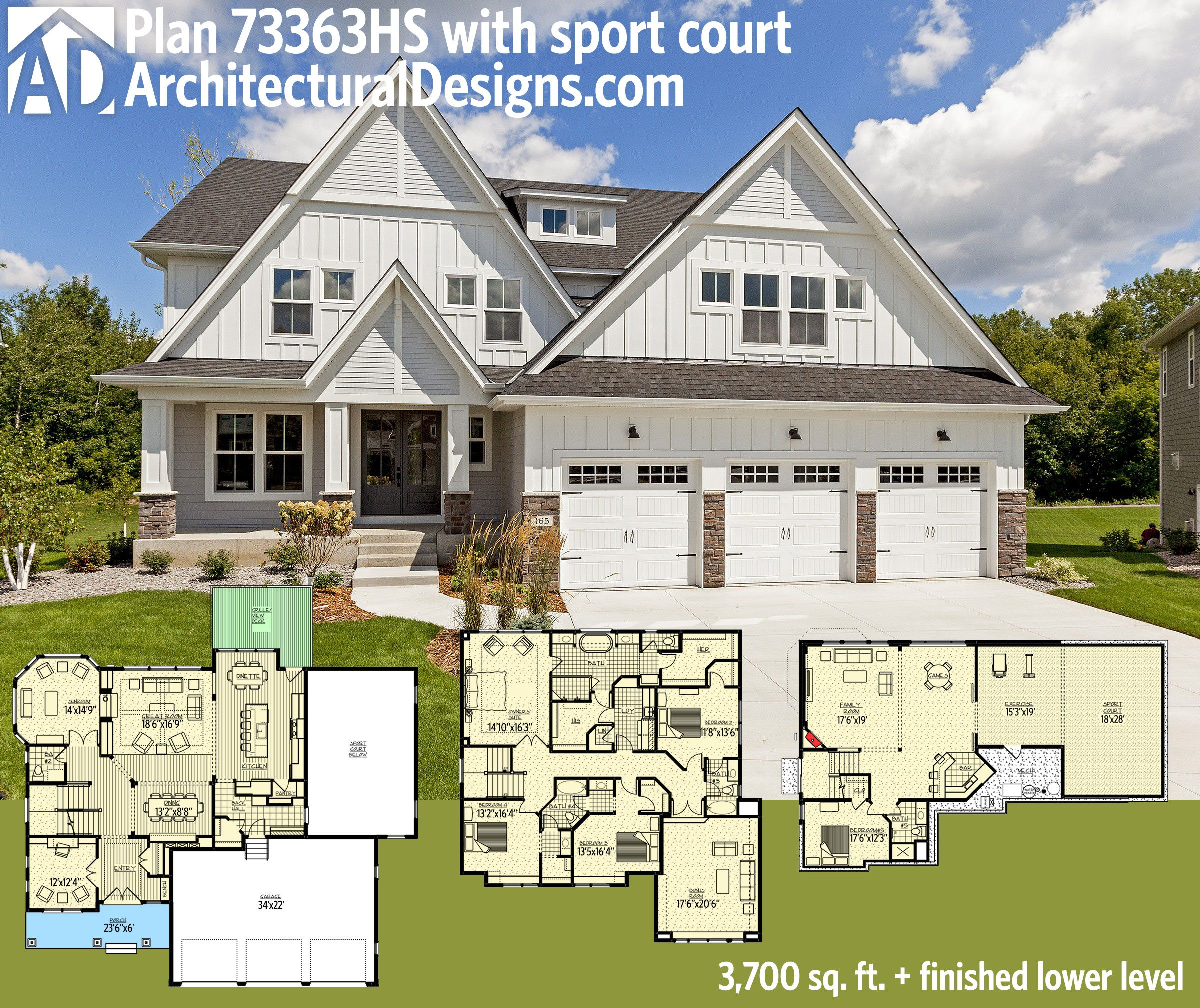 Plan 73363hs stunning exclusive craftsman with optional for House plans with indoor sport court