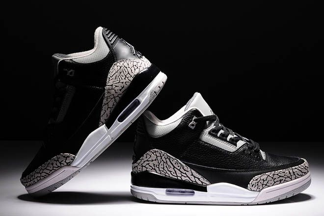 Air Jordan 3 Black Grey-White Elephant Print Retro III Mens Athl ... d5b2891ea