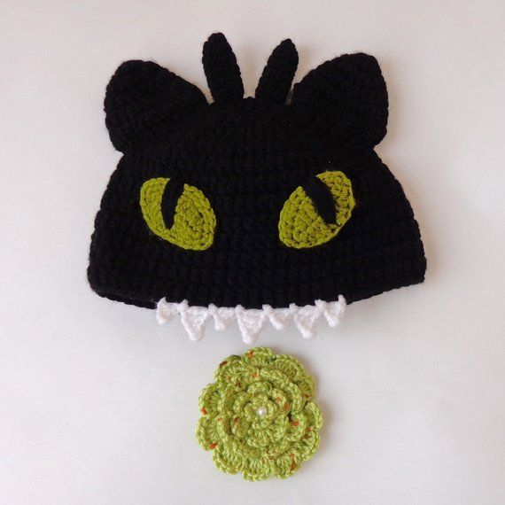 505a3ca2a2 Toothless Hat From How to Train Your Dragon With Flower Pin Newborn ...