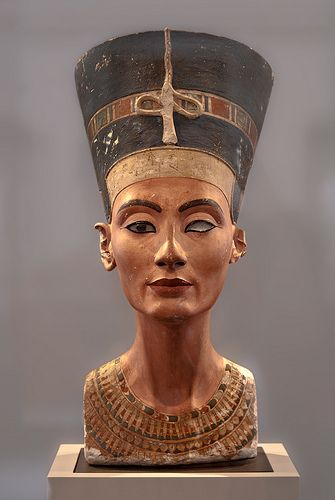 Queen Nefertiti (who's name means 'the beauty has come'.) Nefertiti (ca. 1370 BC – ca. 1330 BC) was the Great Royal Wife (chief consort) of the Egyptian Pharaoh Akhenaten. Nefertiti and her husband were known for a religious revolution, in which they worshiped one god only, Aten, or the sun disc.