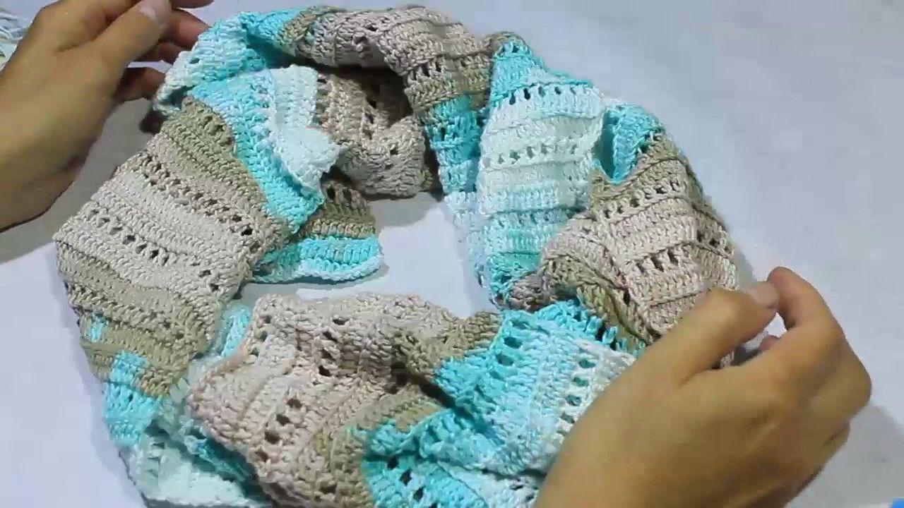 как вязать шарф крючком простой ажурный узор из нежного хлопка