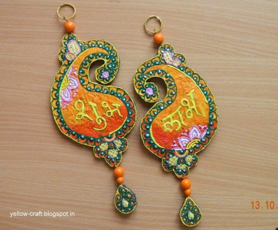 Shubh labh handmade diwali decor made with old for Art and craft for diwali decoration