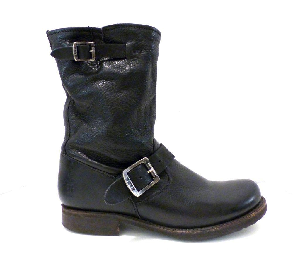 c32787cfe56 Women's Frye Veronica Short Slouch Black Leather Moto Biker Boots Sz ...