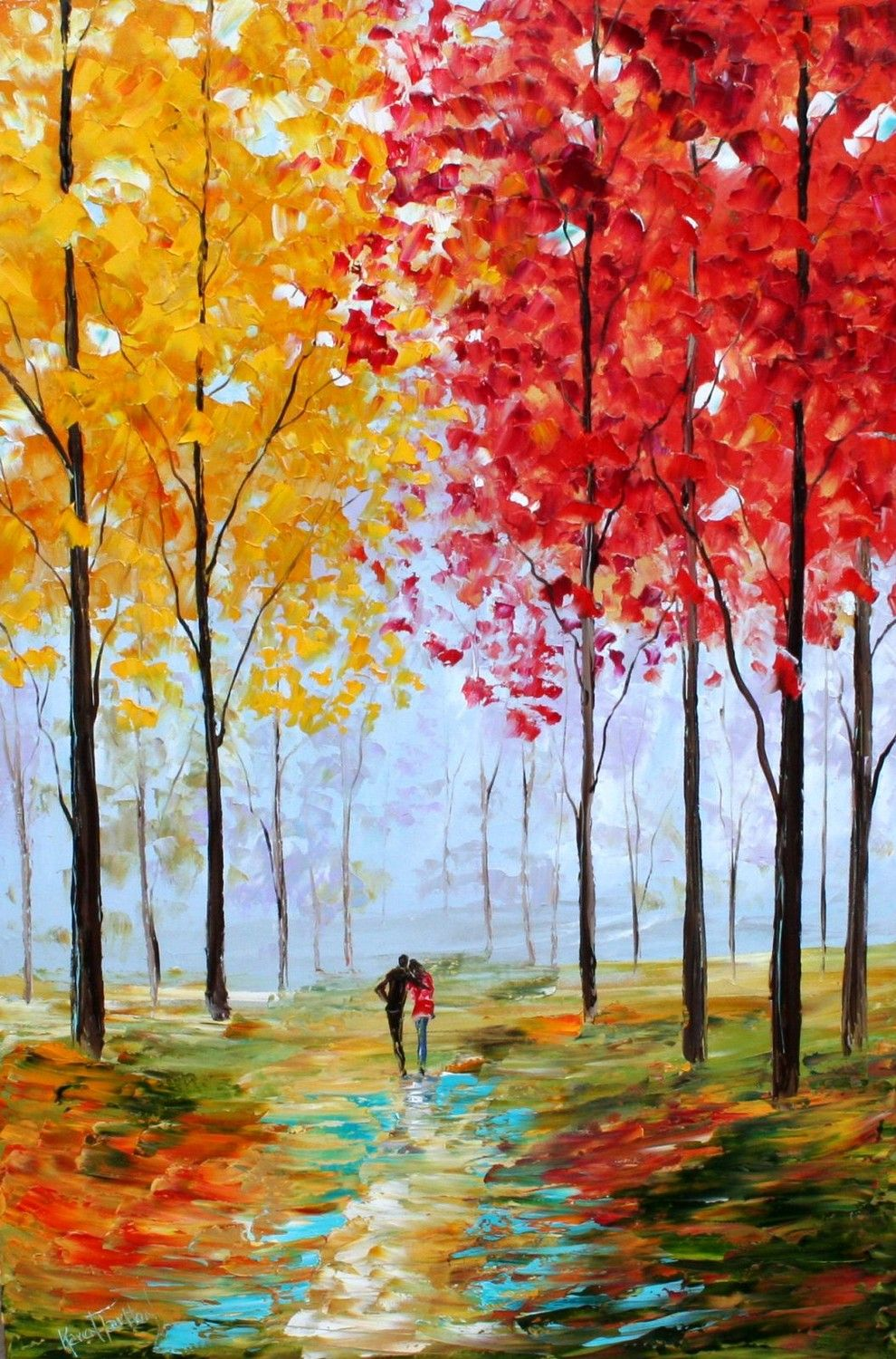 Karen tarlton original oil painting autumn romance landscape