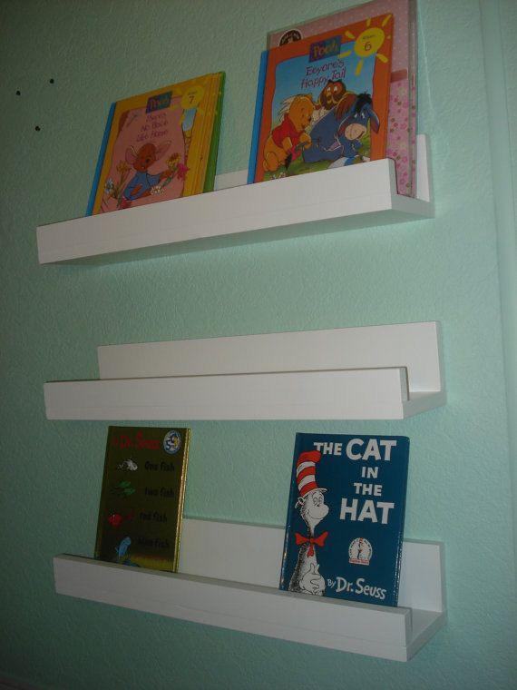 3 Shelves Book Ledges Toddler Book Organizer by lestudio2 on Etsy