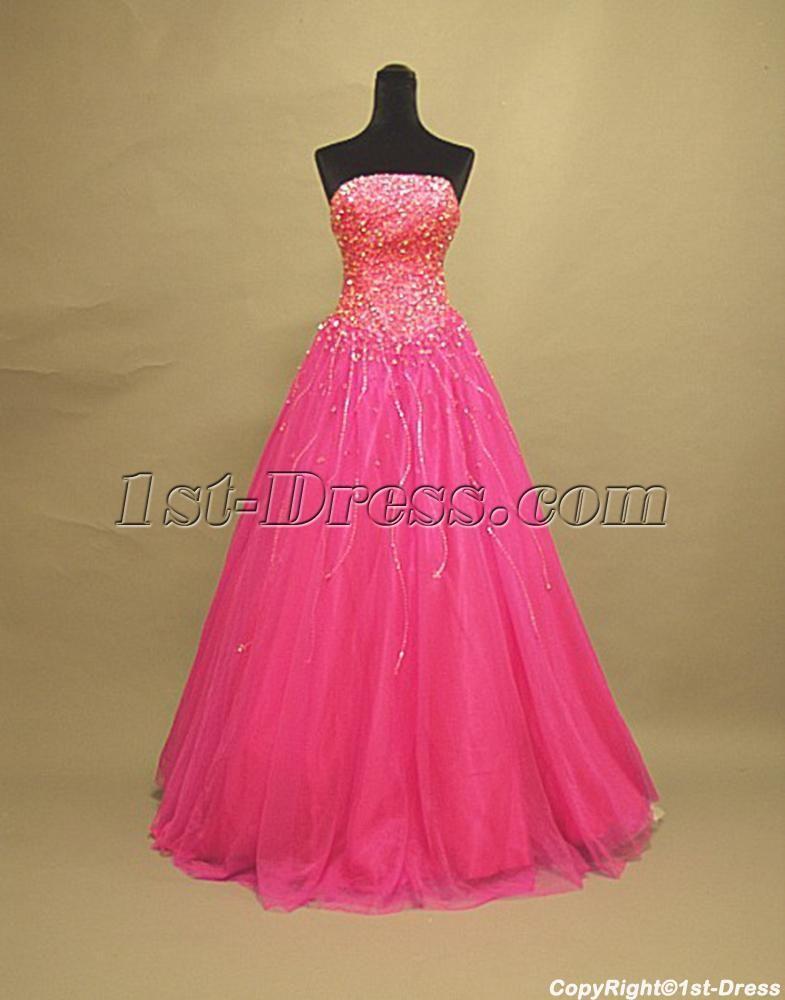 Long Pink Sweet 16 Dresses