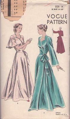 MOMSPatterns Vintage Sewing Patterns - Vogue 6140 Vintage 40's Sewing Pattern DIVINE Hitchcock Hollywood Film Starlet FULL Skirt Basque Waist Wrap Around Dressing Gown, Flutter or Bell Sleeve Negligee, Peignoir, House Coat