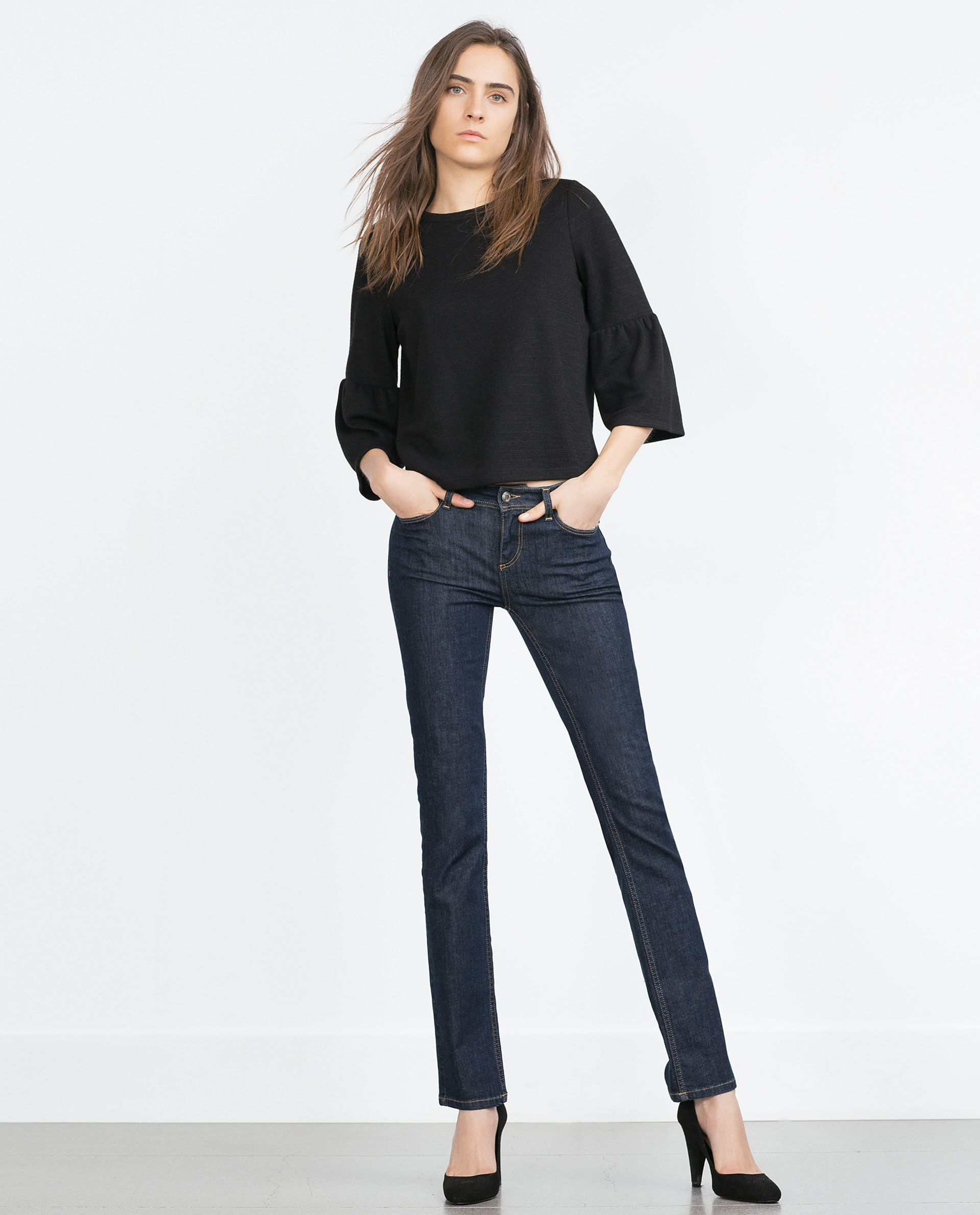 c1f3cebc39672f zara black bell sleeve top | Tops | Bell sleeves, Black bell sleeve ...