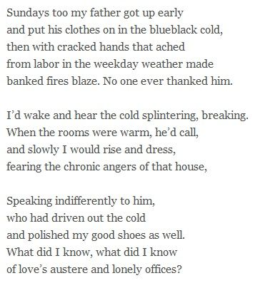 """those winter sundays 2 essay Those winter sundays essay example - the poem """"daystar"""" by rita dove and the poem """"those winter sundays"""" by robert hayden have some similarities, but they also have some differences these poems mainly deal with parenting and the parenting life as well as their own personal issues each parent in the two poems have their children's."""