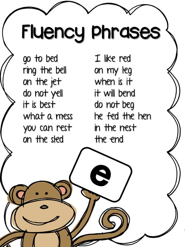 Fluency Phrases from Chunky Monkey's Short Vowel Fluency Packet. Also includes word banks, challenge words, and one breath boxes for each short vowel. Use in your fluency center, in guided reading, or as a fun independent reading activity. Students LOVE Chunky Monkey!