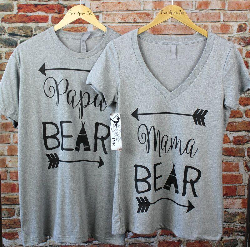 Mama and Papa Shirt Set. Baby Shower Gifts. Couples Shirts. Mama and Papa Shirts. Bear Shirts. Couples Tees. Dad Shirt. Mom Shirt by FreeSpiritInk on Etsy #papashirts