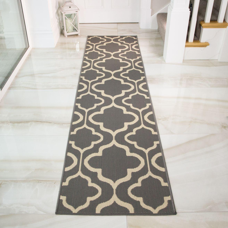 Graphite Modern Easy Clean Kitchen Runner Rug Runner Hallway